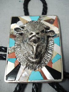 Huge Buffalo Vintage Native American Navajo Turquoise Sterling Silver Inlay Bolo Tie Old