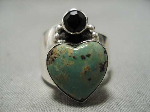 Marvelous Vintage Native American Navajo Royston Turquoise Heart Sterling Silver Ring