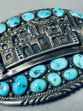 One Of The Most Detailed Vintage Native American Navajo Sterling Silver Turquoise Buckle