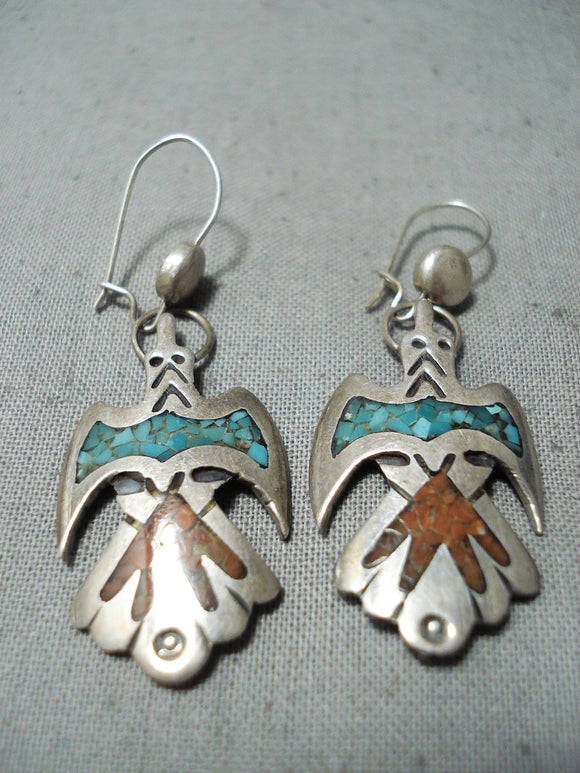 Unique Vintage Native American Navajo Turquoise Chip Inlay Sterling Silver Birds Earrings Old