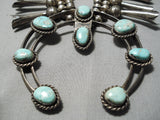 Huge Vintage Native American Navajo Authentic Turquoise Sterling Silver Squash Blossom Necklace