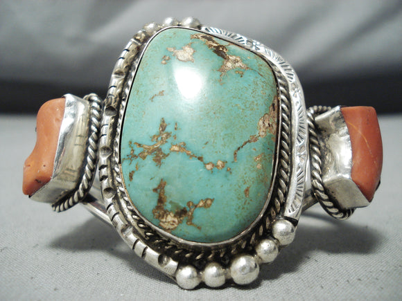 Dazzling Vintage Native American Navajo Royston Turquoise Coral Sterling Silver Bracelet