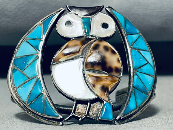 Native American Best Vintage Navajo Owl Turquoise Sterling Silver Shell Bracelet