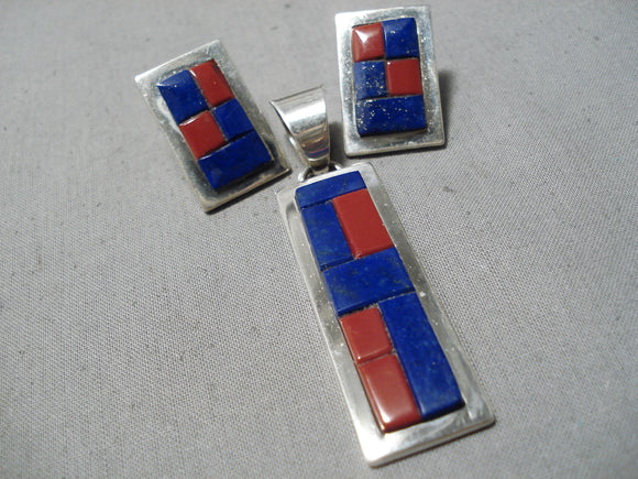 Important Vintage Native American Navajo Tommy Jackson Lapis Sterling Silver Pendant Earrings