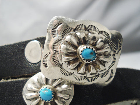 Superb Vintage Native American Navajo Hand Wrought Sterling Silver Turquoise Concho Belt