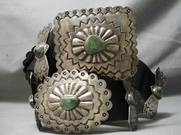 One Of Biggest Best Vintage Native American Navajo Royston Turquoise Sterling Silver Concho Belt