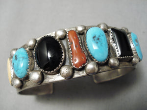 Important Vintage Native American Navajo Tom Moore Turquoise Coral Sterling Silver Bracelet Old
