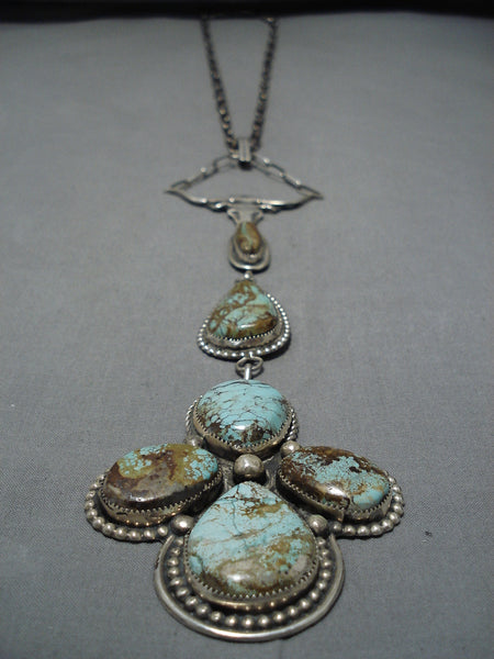 Vintage Navajo Royston Turquoise Native American Sterling Silver Necklace