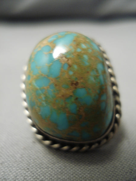 Amazing Vintage Native American Navajo Native Sterling Silver Green Spiderweb Turquoise Ring
