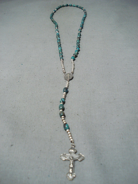 Exquisite Navajo Native American Turquoise Sterling Silver Rosary Necklace