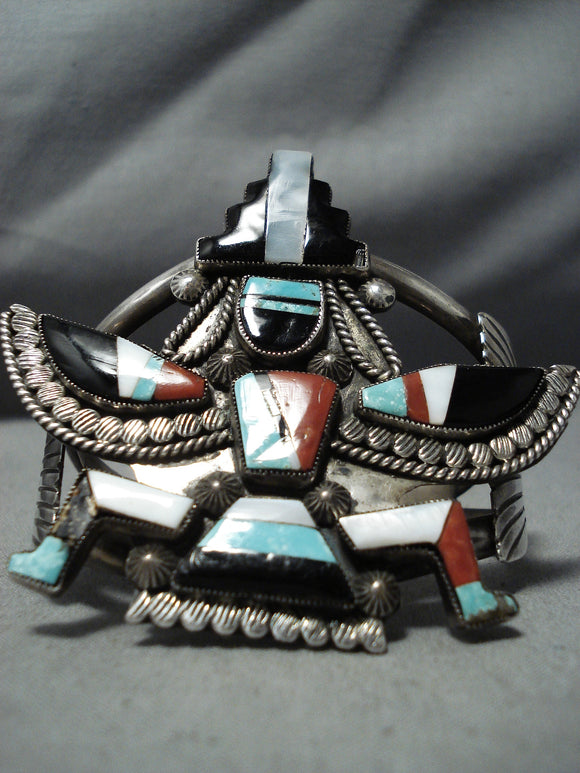 One Of The Best Vintage Native American Zuni Knifewing Turquoise Sterling Silver Bracelet Old