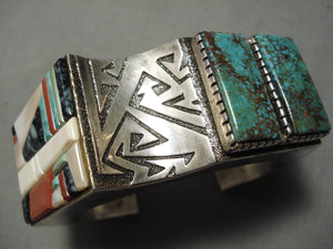 Important Vintage Native American Navajo Richard Tsosie Turquoise Sterling Silver Bracelet