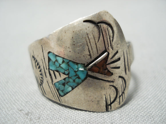 Teepee Love Vintage Native American Navajo Turquoise Coral Chip Inlay Sterling Silver Ring Old