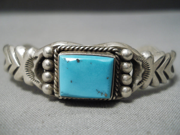 Incredible Baca Family Vintage Native American Navajo Turquoise Sterling Silver Bracelet Cuff