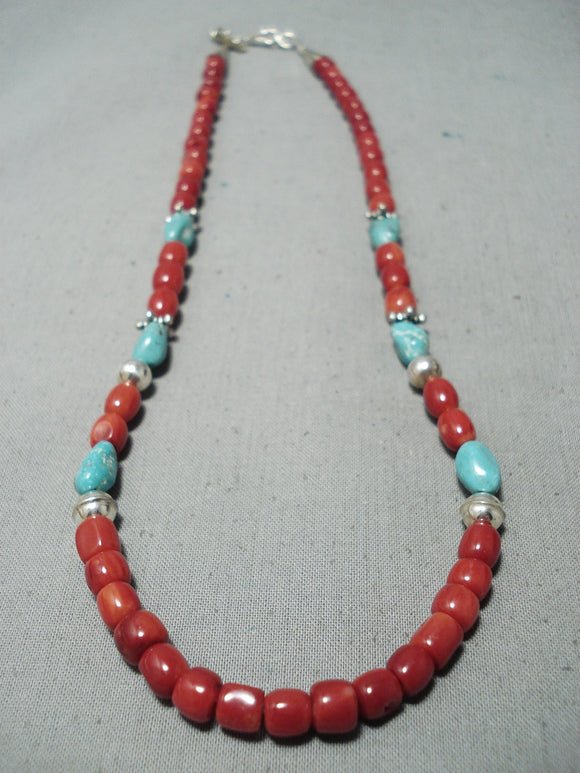 Authentic Singer Native American Navajo Chunky Coral Turquoise Sterling Silver Necklace