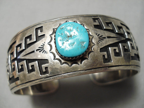Detailed Vintage Native American Navajo Hand Wrought Geometrc Sterling Silver Turquoise Bracelet