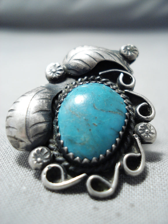 Exquisite Vintage Native American Navajo Pilot Mountain Turquoise Sterling Silver Ring Old