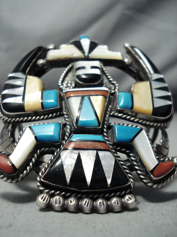 Biggest Best Vintage Native American Navajo Knifewing Turquoise Sterling Silver Bracelet
