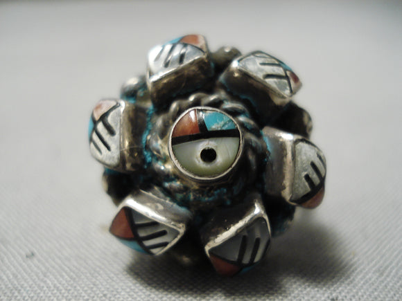 One Of The Most Intricate Vintage Native American Navajo Turquoise Coral Sterling Silver Ring
