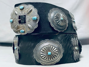Native American Early Huge Hand Tooled Vintage Navaj Turquoise Sterling Silver Concho Belt