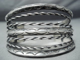 Early 1900's Vintage Native American Navajo Sterling Silver Coil Bracelet Old