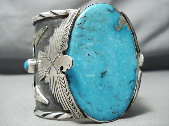 Huge Heavy Big!! Native American Turquoise Thunderbird Sterling Silver Bracelet