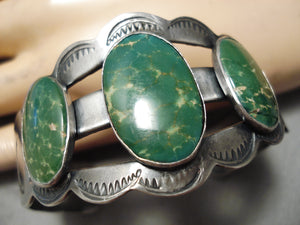 Early Vintage Native American Navajo Cerrillos Turquoise Sterling Silver Bracelet Old