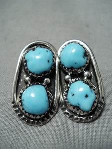 Fabulous Vintage Native American Navajo Turquoise Sterling Silver Earrings