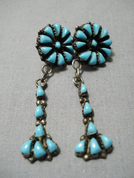 Marvelous Vintage Native American Navajo Teardrop Turquoise Sterling Silver Earrings Old