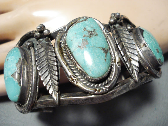 Phenomenal Vintage Native American Navajo Pilot Mountain Turquoise Sterling Silver Bracelet Old