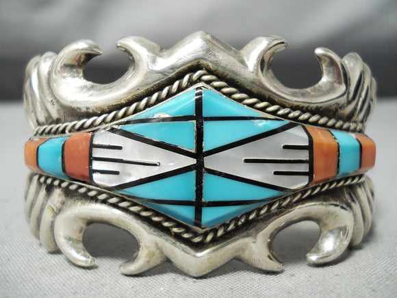 Heavy Detailed Vintage Native American Navajo Turquoise Coral Sterling Silver Bracelet Old