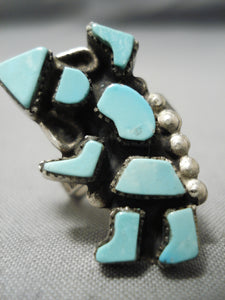 Intrciate! Vintage Zuni Native American Kachina Turquoise Dancer Ring