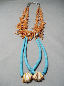 Tremendous Vintage Native American Navajo Coral & Turquoise Sterling Silver Necklace Old