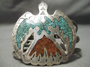 Quality Detailed Vintage Native American Navajo Green Turquoise Coral Sterling Silver Bracelet