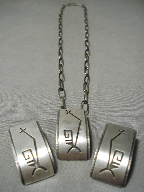 Famous Artist Vintage Native American Hopi Sterling Silver Geometric Earrings Necklace