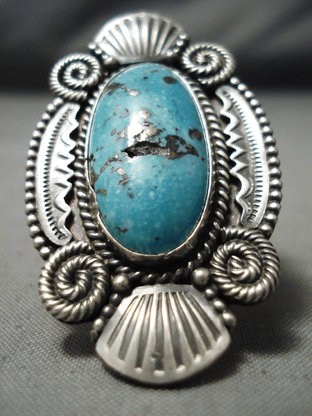 One Of The Best Vintage Native American Navajo Silver Genius Sterling Turquoise Ring Huge