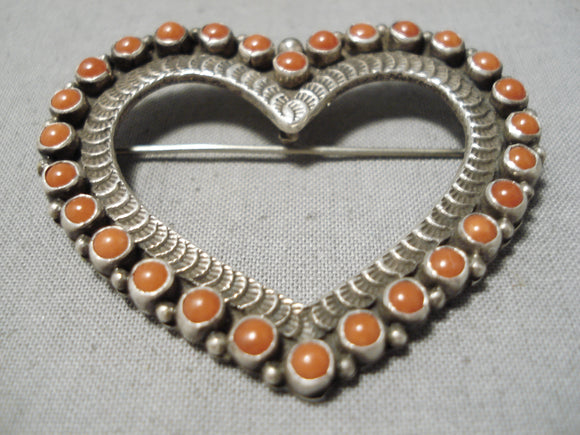 Very Important Vintage Native American Navajo Lee Charley Coral Sterling Silver Heart Pin