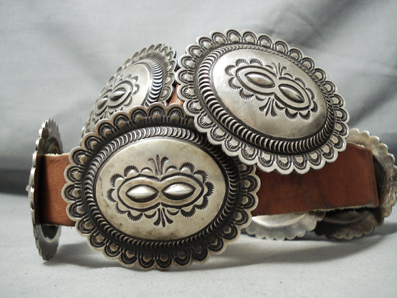Very Heavy Vintage Native American Navajo Hand Tooled Sterling Silver Concho Belt Old