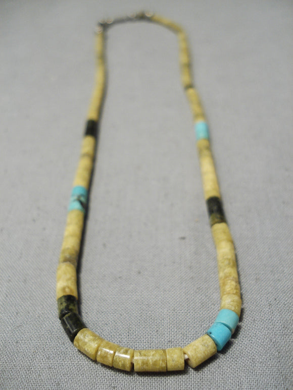 Native American Outstanding Vintage Santo Domingo Turquoise Jet Serpentine Sterling Silver Necklace