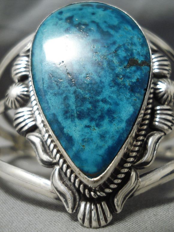 Very Rare Vintage Native American Navajo Cortez Turquoise Sterling Silver Bracelet Old