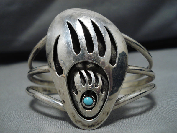 Exquisite Mama And Cub Vintage Native American Navajo Sterling Silver Turquoise Bracelet