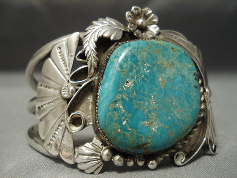 Quality Vintage Native American Navajo Turquoise Sterling Silver Applique Bracelet Old