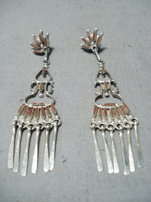 Exceptional Zuni Coral Sterling Silver Dangle Earrings Native American