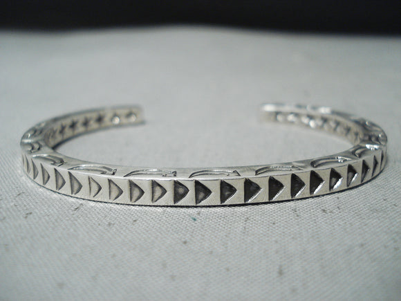 Outstanding thicker Vintage Native American Navajo Sterling Silver Solid Bracelet
