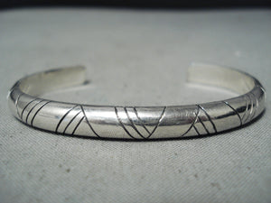 Very Important Wes Willie Vintage Native American Navajo Authentic Sterling Silver Bracelet