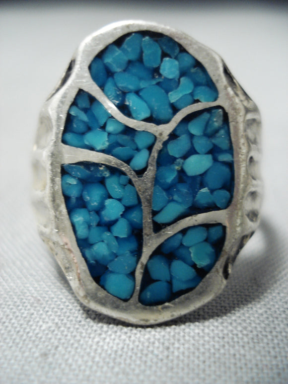 Intricate Vintage Native American Navajo Turquoise Inlay Sterling Silver Ring