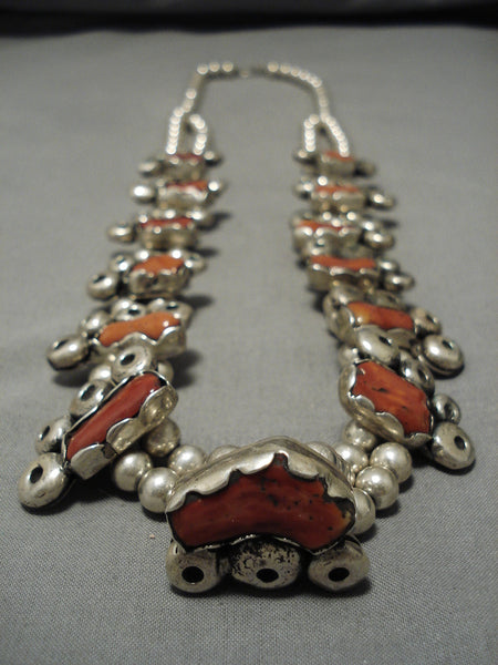 283 Gram Vintage Native American Navajo Coral Sterling Silver Squash Blossom Necklace Old