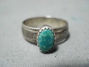 Superb Vintage Navajo Turquoise Sterling Silver Ring Native American Old