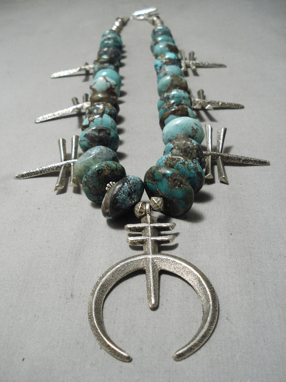 Heavy Cross Vintage Native American Navajo Turquoise Sterling Silver Squash Blossom Necklace