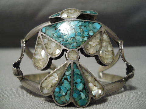 Native American Detailed Vintage Navajo Turquoise Pearl Sterling Silver Inlay Bracelet Old